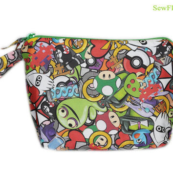 Video Game Bag | Gamer Makeup Bag | Pencil Case | Organizer | Pokemon | Zelda | Sonic | Mario Brothers | Portal | Pacman |Companion Cube