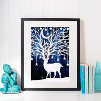 Stag Wall Art - Paper Art Work - Star Wall Art - Deer Home Decor - Branch Wall Art - Woodland Art - Cabin Art - Wildlife Gifts