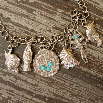 Vintage Charm Bracelet, Southwestern, Native American Style Jewelry, Indian Motifs, Silver Tone Bracelet, Faux Turquoise Accents, Cast Metal