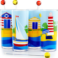 Martha Stewart Collection Coastal Summer Acrylic 8-Piece Beverage Set