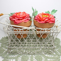 Vintage White Wire Rustic Plant Pot Flower Holder Basket with Handle