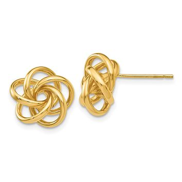 12mm Polished Love Knot Post Earrings in 14k Yellow Gold