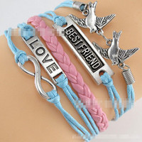 Dove LOVE BEST FRIEND Leather Cord Bracelet