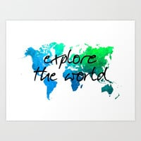 world map 124 explore the world #map #worldmap Art Print by jbjart