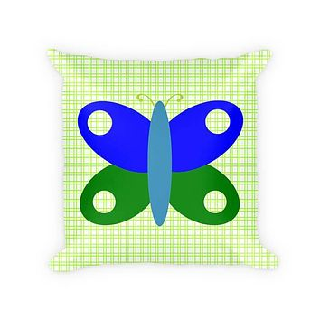 Butterfly I Children's Cotton Poly Throw Pillow