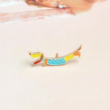 Trendy Cartoon Dachshund Brooch Pin Buckle Enamel pin for Coat Denim Jacket Bag Badge Fashion Puppy Dog Animal Jewelry Gift for Kids AT_94_13