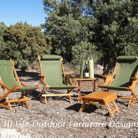 Diamond Springs Prospector Handcrafted Wood Chair Reclining Outdoor All Weather Camping Folding Sling Deck Beach