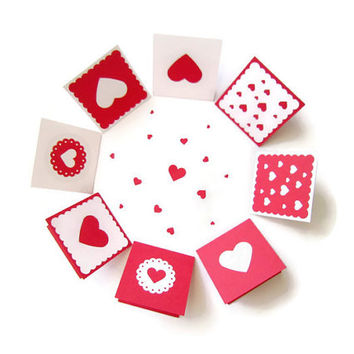 2x2 Card/ Mini Red Heart Cards with Envelope 8 patterns / Love Notes / Blank Note Cards / Valentine's Day Cards/ Holiday / Party / Set of 12