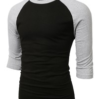 Mens Vintage Crew Neck 3/4 Sleeve Raglan T Shirt
