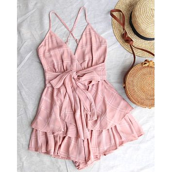 Keep it a Secret - Checkered Tiered Ruffle Romper - Blush
