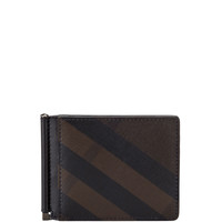 Smoked Check Leather Money Clip Wallet - Burberry