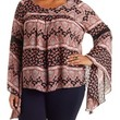 Plus Size Multi Gauzy Boho Print Bell Sleeve Top by Charlotte Russe