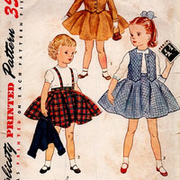 50s Simplicity Sewing Pattern 3992 Girls Dress Full Circle Skirt Weskit Jacket Jumper Suspenders Peter Pan Collar Holiday Party Retro Size 2