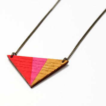 Geometric, triangle wooden necklace - pink, red, mustard yellow - minimalist, modern jewelry - color blocking