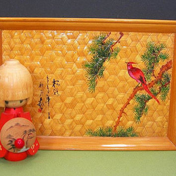 "Japanese Woven Bamboo Tray - Hand-painted Red Bird, Tree - Vintage Asian Small Decorative Tray - 3-D Cube Design in Weaving - 11"" by 7-1/4"""