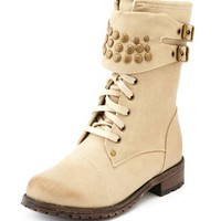 STUDDED CUFF COMBAT BOOT