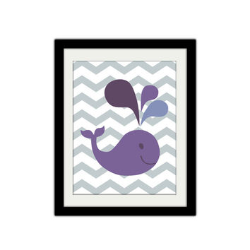 "Whale Nursery Print. Baby Girl. Purple. Chevron. Sea Animal. Under the Sea. Cute Whale. Baby Shower. Kids Bathroom. 8.5x11"" Print."