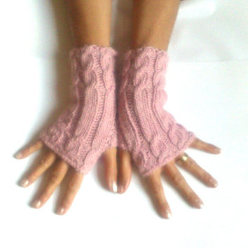 Free ship Alpaca wool soft pink fingerless gloves cozy gloves cable gloves gloves armwarmers