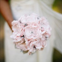 Bridal Bouquet Pink & Grey Wedding by BlueOrchidBridal on Etsy