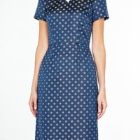 White Collar Navy Jacquard Dress By Suno