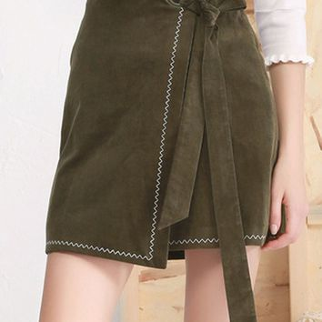 Army Green High Waist Tie Side Asymetric Hem Skirt