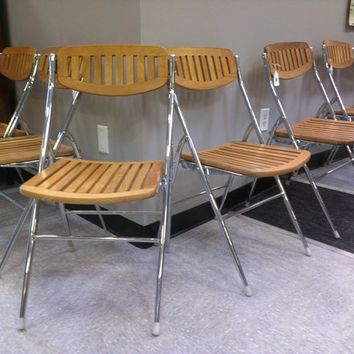 Mid Century Vintage Maple + Chrome Folding Chairs