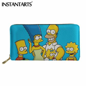 INSTANTARTS Brand Design Women Men Anime Long Wallet 3D Cartoon Simpsons Print Women's Tote Pocket Coin Clutch Leather Wallets