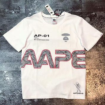 Aape Bape Popular Women Men Casual 3M Reflective Camouflage T-Shirt Short Sleeves T-Shirt Lovers Top White I-AA-XDD