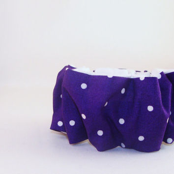80s Hair Scrunchies Purple with White Polka Dots reversible White Fabric 80s Hair Accessory Woman Teen