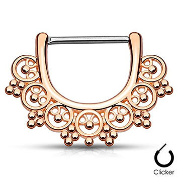 "Pair Body Jewelry 14ga (1.6mm) 1/2""(12mm) Nipple Bar Clicker Ring or Barbell Tribal Bead design Rose Gold over 316l Surgical Steel"