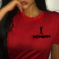YSL Top Yves Saint Laurent Shirt Sides Embroidery Logo Women Men Tee Shirt Top B-AA-XDD Five Color-Red