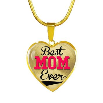 Best Mom Ever Gold Luxury Heart Charm Necklace
