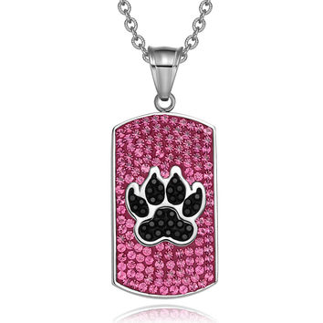 Wolf Paw Austrian Crystals Amulet Protection Powers Fuscia Pink Jet Black Tag Pendant 18 Inch Necklace