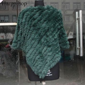 free shipping spring autumn Genuine Real Knitted Rabbit Fur Poncho Wrap scarves women natural rabbit fur Shawl triangle Cape