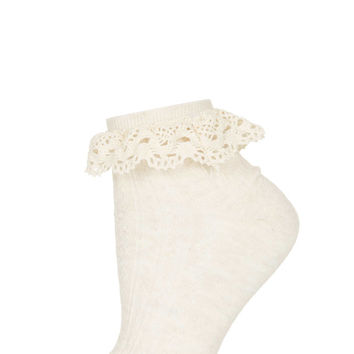 Cream Crochet Lace Trim Socks - Topshop USA