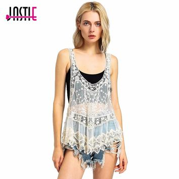 Jastie Vintage Sweet Cute Casual Crochet Knit Floral Hollow Out Lace Vest Slim Bohemia Tops Blouse Handmade Beige Beach Cover Up