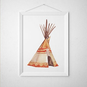 Watercolor poster Teepee print Tribal art Native print ACW887