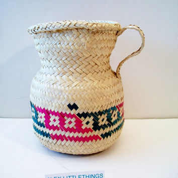 Ethnic Handwoven Pitcher Basket Tribal Native American