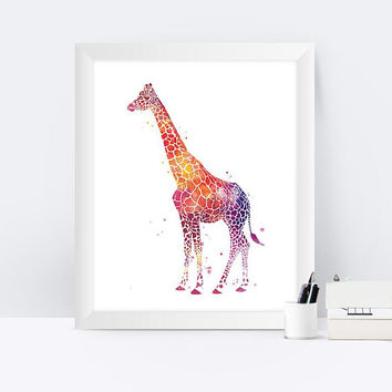 Giraffe Print Animal Print Watercolor Painting Art Print Animal Painting African Animal Home Decor Nursery Art