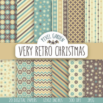 SALE - 50% OFF. Retro Christmas Digital Paper Pack, Snowflakes Scrapbooking Paper. Vintage Printable Paper. Gold, Teal and Cream.