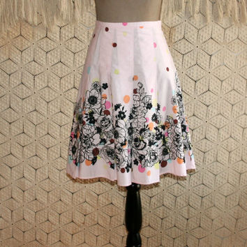 90s Cotton Skirt Pink Pastel Polka Dot Spring Skirt Full Skirt Vintage Skirts Black Floral Size 4 Skirt Size 6 Skirt Small Womens Clothing