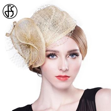 FS Fascinator Lady Eleagnt Flower Bridal Pillox Hats Champagne Linen Wedding Women With Veil Party Evening Hat Chapeu Feminino