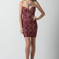 (anb) Nude illusion sweetheart plunge lace burgundy short fitted dress