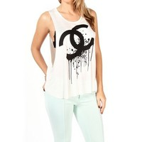 Ivory Dripping C's Sleeveless Top