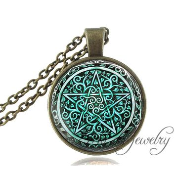 Vintage Magic Pentagram Pendant Bronze/Silver Chain Pentacle Necklace Women Glass Dome Pentagram Jewelry Occult Wiccan Necklace