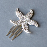 25% off Rhinestone Bridal Hair Comb Beach Wedding Jewelry Crystal Starfish Clip FREE Shipping US CM031LX