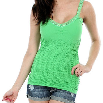 GREEN SPANDEX TANK WITH LACE TRIM AND GATHERED TORSO