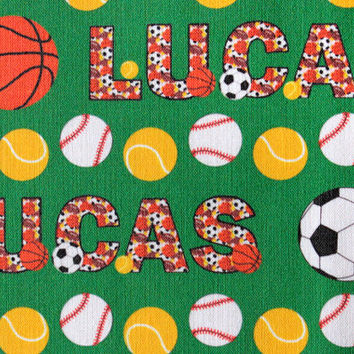 Personalized  Sports Ball Child's Fabric for making quilts, throw pillows, curtains, and other nursery decorations in a child's room