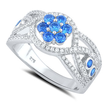 Sterling Silver Simulated Blue Sapphire Flower Ring