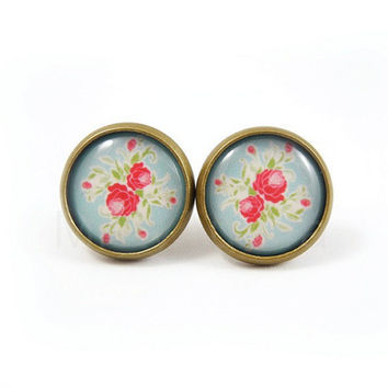 Floral Earring Studs - Blue Red Rose Earrings - Rose Jewelry - Floral Jewelry